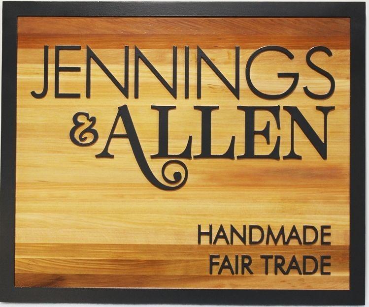 S28218 - Carved 2.5-D Cedar Wood Sign for the Jennings & Allen Handmade Fair Trade Store