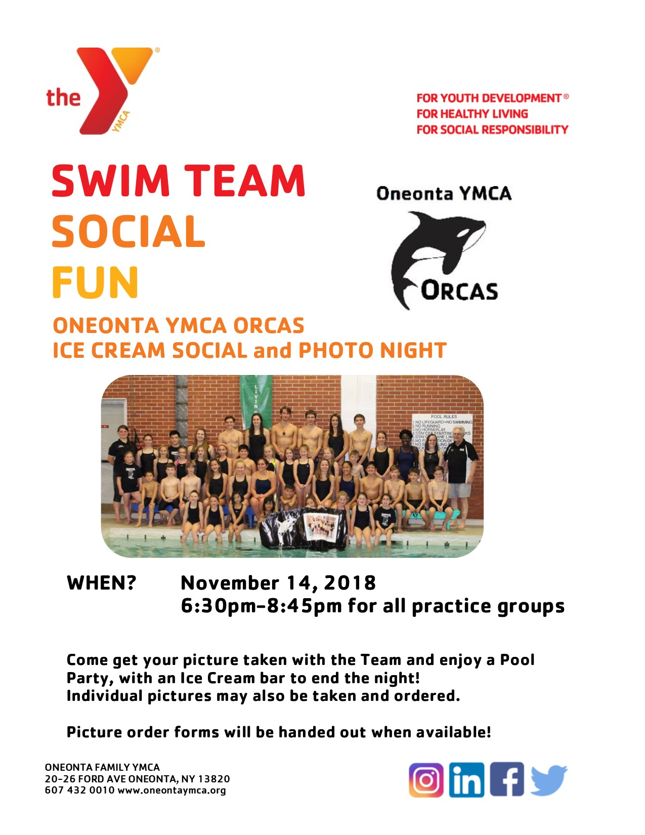 Orcas Swim Team Ice Cream Social and Photo Night