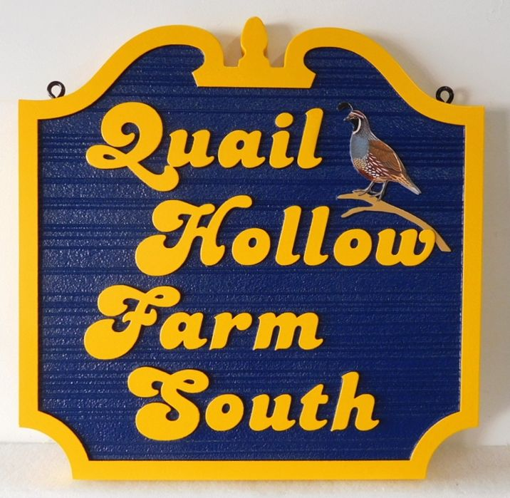 "O24639 - Carved and Sandblasted entrance sign for the ""Quail Hollow Farm South"" with California Quail as Artwork"