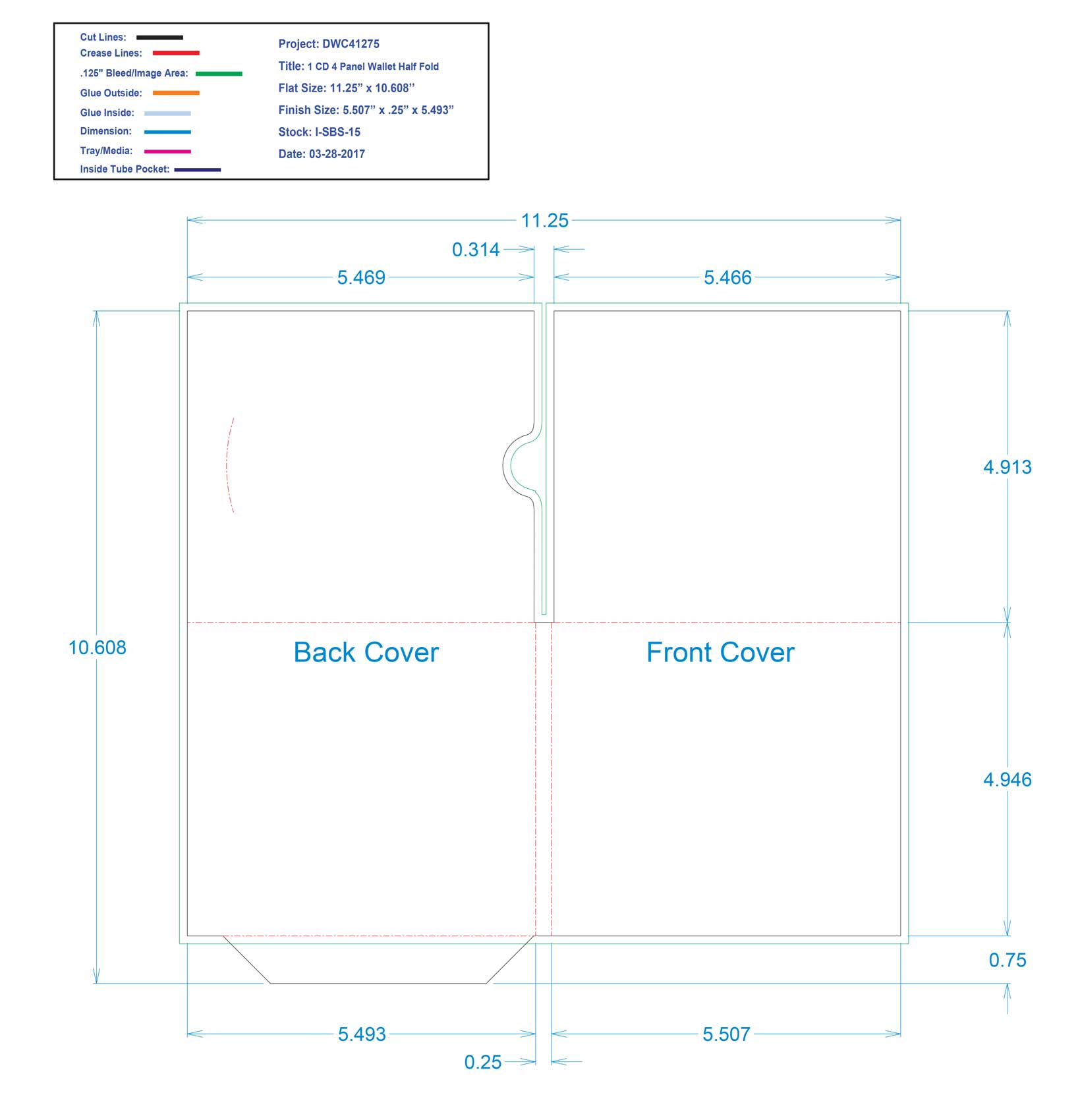 DWC41275-1 CD 4 PANEL WALLET HALF FOLD
