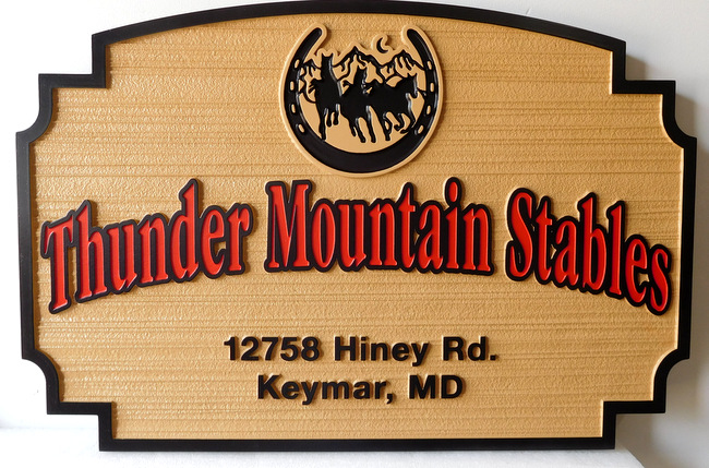 P25147 - Wood Look, Carved HDU Sign for Thunder Mountain Stables with Imaginative Logo of Horseshoe, Mountains and Horses