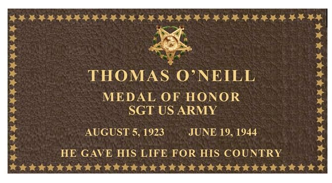 GC16886 -  Brass Memorial Wall Plaque for Sergeant Thomas O'Neill, US Army, Medal of Honor Awardee
