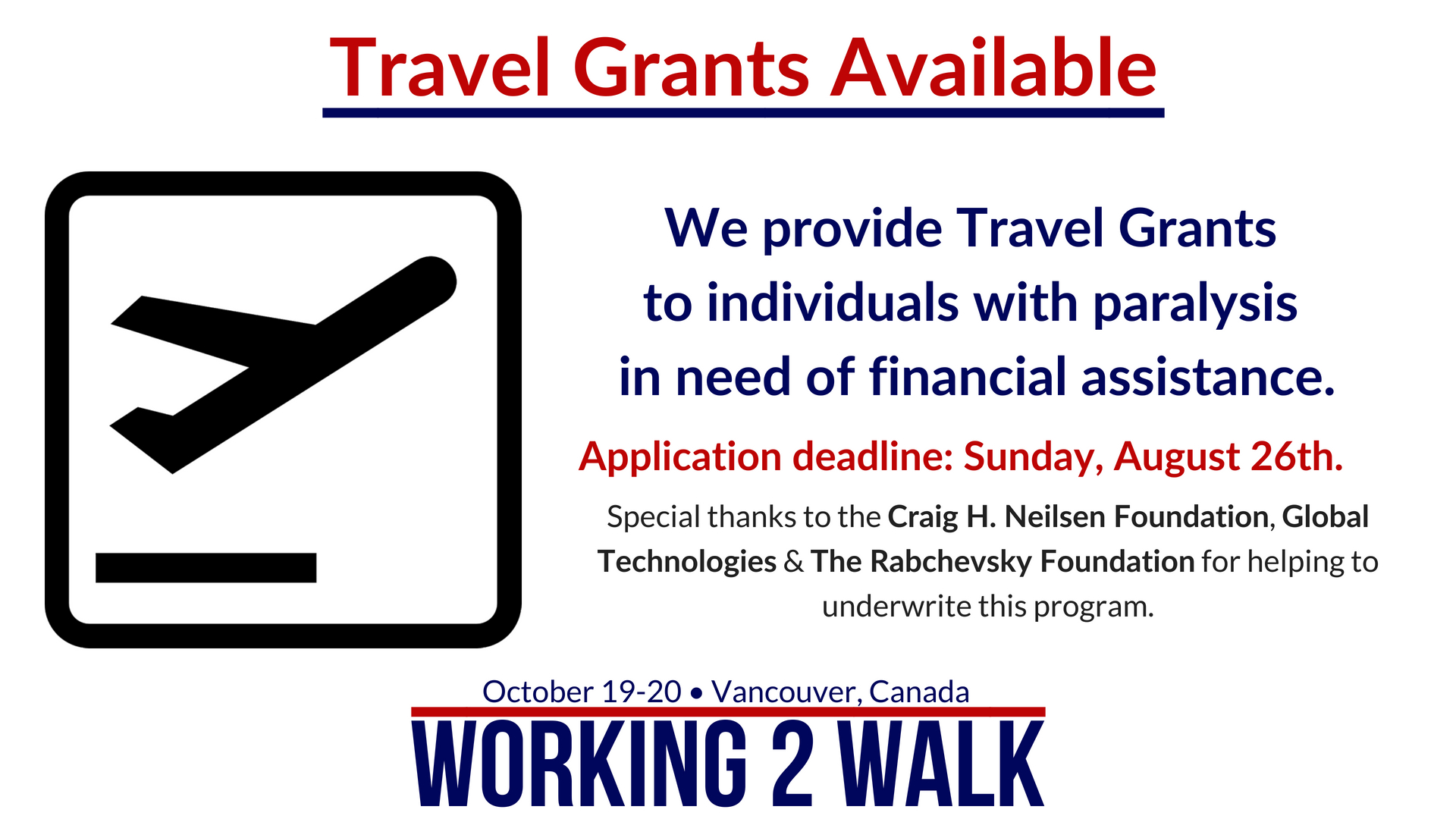Travel Grants for Working 2 Walk
