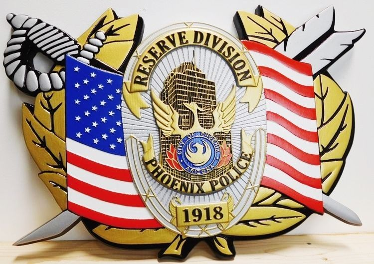 PP-1546 - Carved Plaque of the US Flag, Sword, Wreath and Badge of the Reserve Division of the Police of Phoenix, Arizona, Artist-Painted