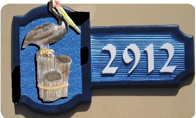 L21606 - Carved 3-D Pelican Address Sign