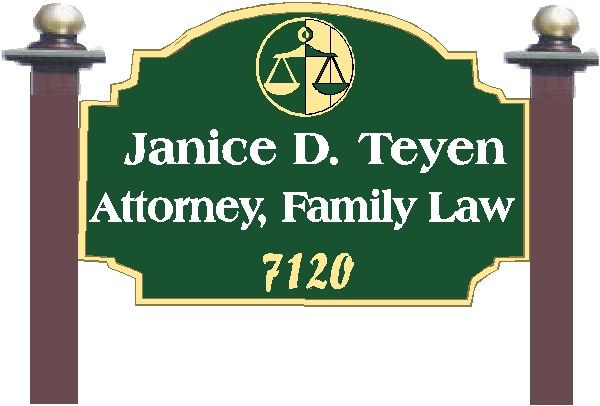 A10181 - Carved Wood Attorney Sign with Side Posts