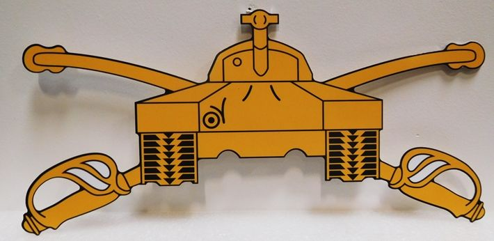 MP-1730 - Carved Plaque of Crossed Swords and Battle Tank Emblem, 2.5-D Artist-Painted