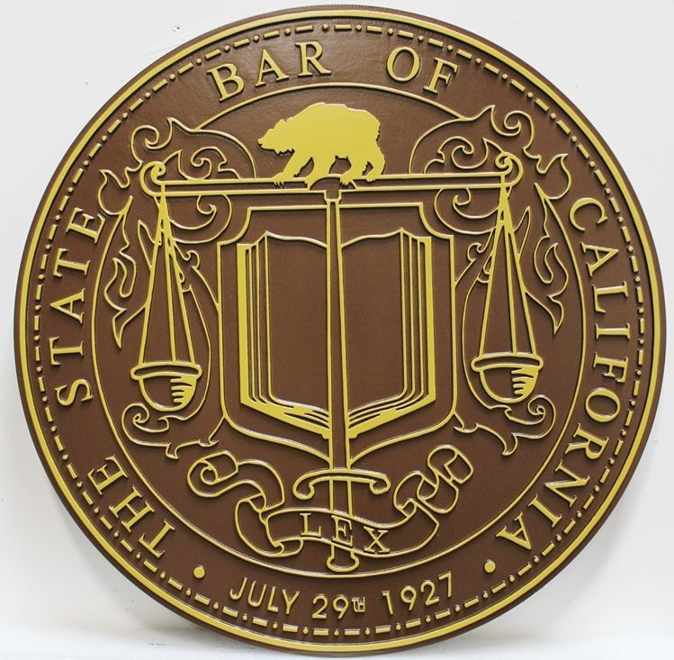 GP-1433 - Carved 2.5-D Raised Outline Relief Bronze-Plated Plaque of the Seal of the State Bar of California