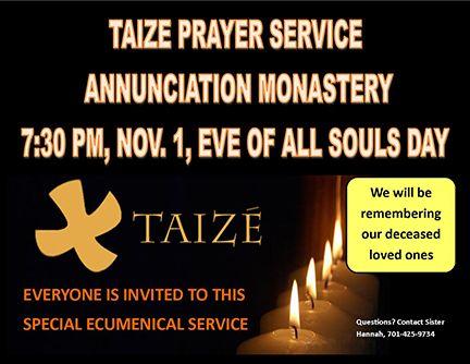Taize Prayer Service on Nov. 1 Eve of All Souls Day