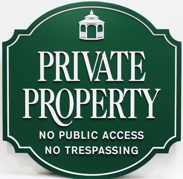 "KA20625 - Carved HDU ""Private Property"" sign for Mendham Lake Estates"