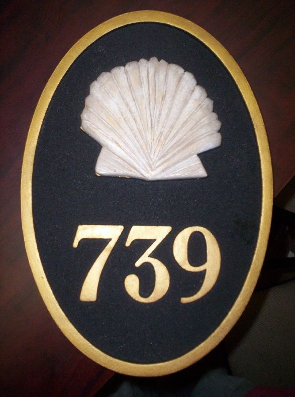 KA20868 - Carved HDU Street Number Address Sign  for Residence, with 3D Carved Seashell