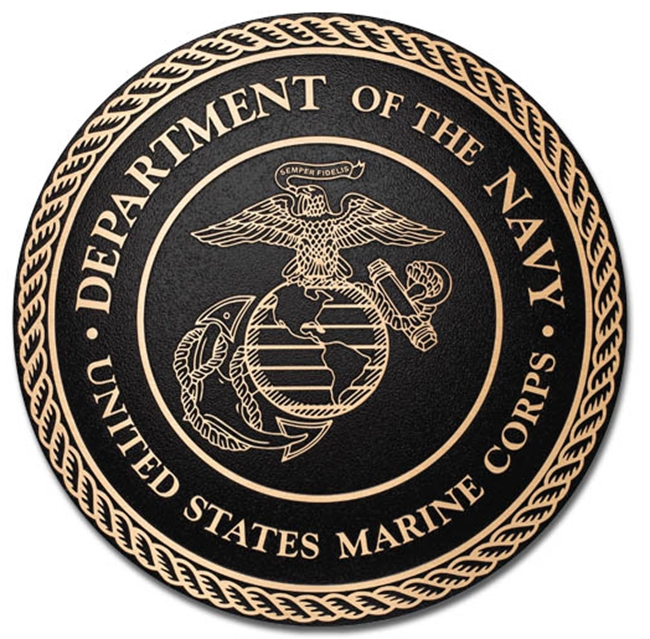 MH7070 - Cast Bronze Plaque of the Seal  of  US Marine Corps, 2.5-D
