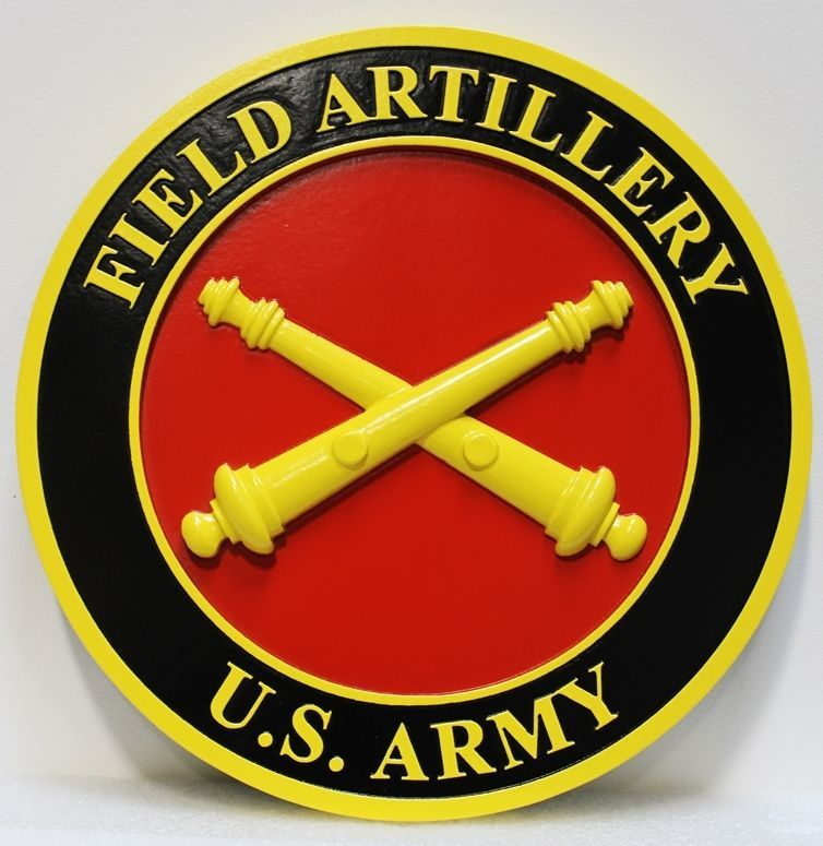 MP-1305 - Carved 3-D HDU Plaque of the Crest/Insignia of Field Artillery Units of  the US Army