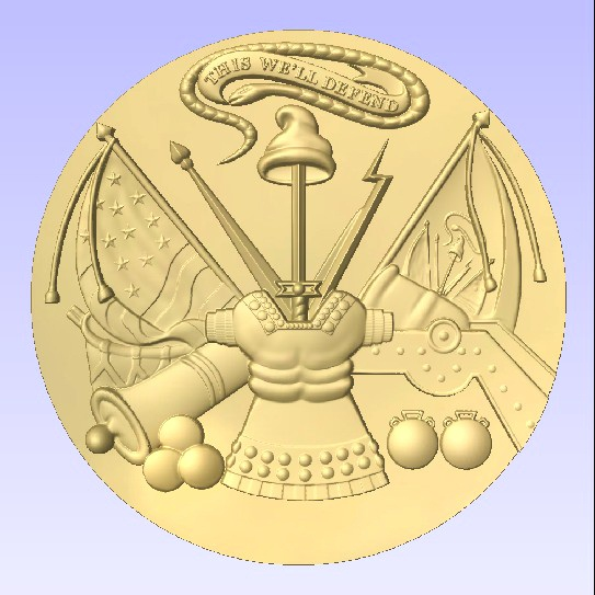 MP-1110 - Carved Plaque of the Great Seal of the US Army (USA), Gold Leaf Gilded