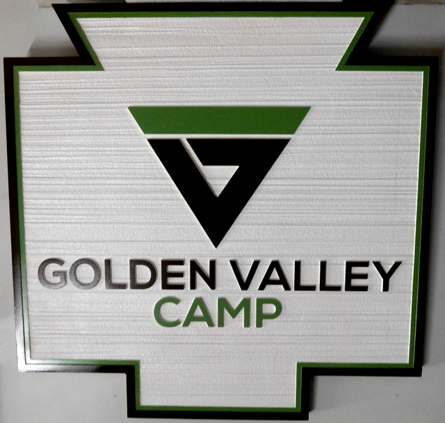 G16318 - Carved HDU Sign for Golden Valley Camp with Camp Logo