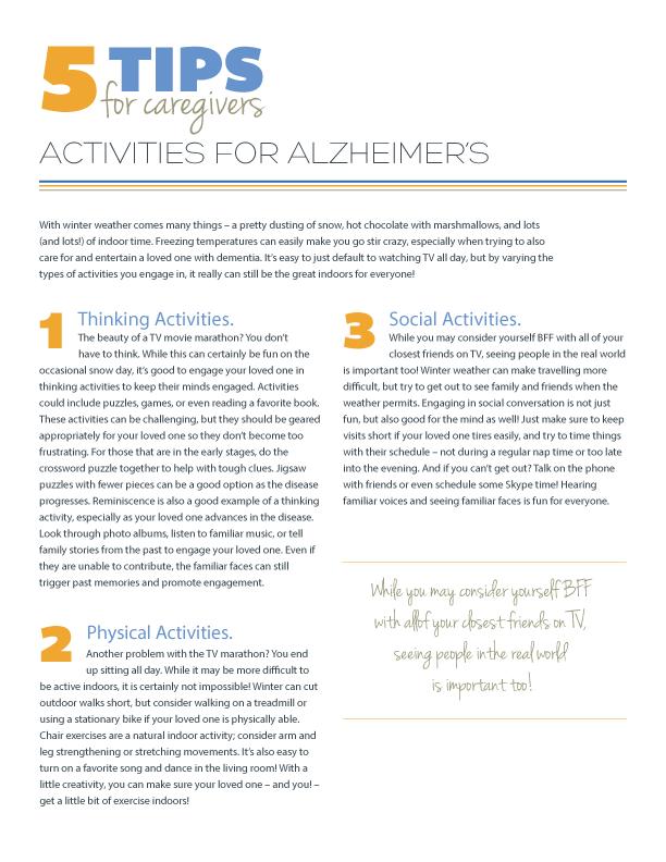 5 Tips for Activities for Alzheimer's