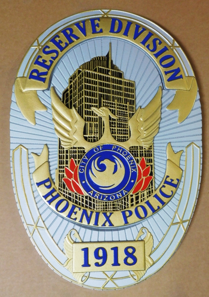 PP-1475 - Carved Plaque of the Badge of the Reserve Division of the Police of Phoenix, Arizona, Artist-Painted