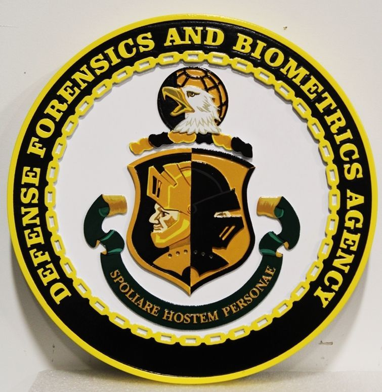 IP-1945 - Carved 2.5-D Multi-level Relief HDU Plaque of the  Seal of the Defense Forensics and Biometric Agency