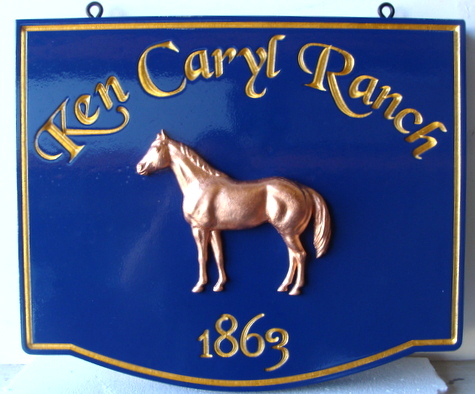 P25002A - Equine Ranch Entrance Sign, with Carved Text and 3D Carved Horse (Copper-Leaf Gilded)