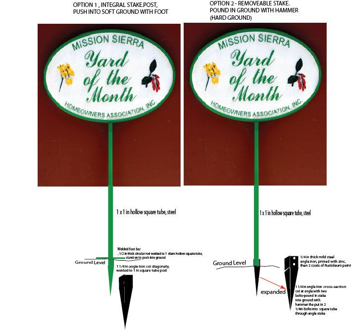 KA20970 - Yard-of-the-Month Sign with Wrought Iron Removeable Post & Ground Stake with Welded Angle Iron and Footbar