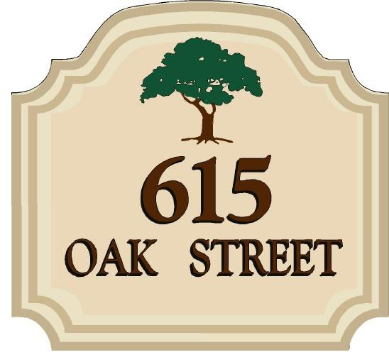 KA20869 - Design of Carved HDU or Wood Street Address Sign with Carved Tree