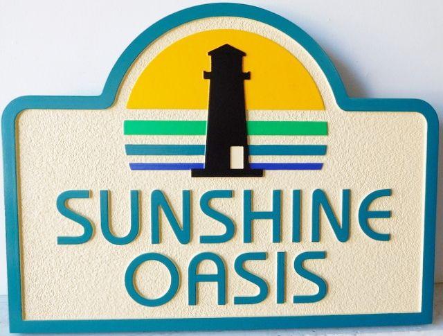 """L21423 - Carved 2.5-D Residence Entrance Sign """" Sunshine Oasis"""""""