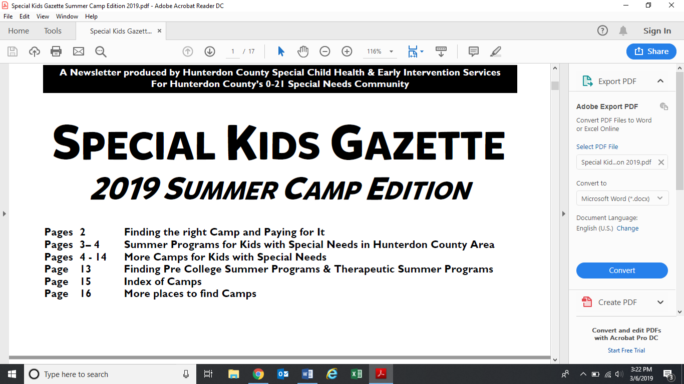 Special Kids Gazette Summer Camp Edition 2019