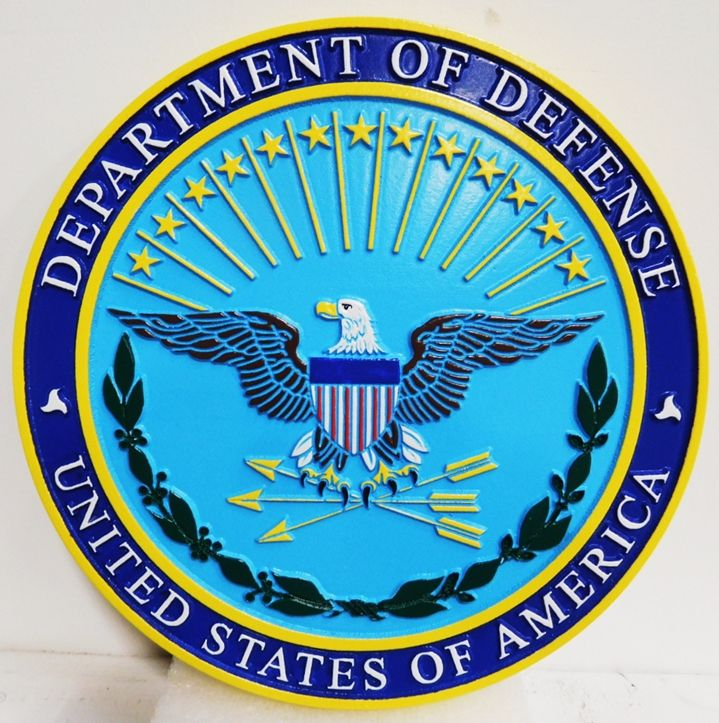 IP-1045 - Carved Plaque of the Great Seal of the Department of Defense. 2.5-D Artist-Painted