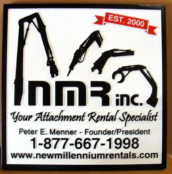 """SA28754 - Carved HDU Sign for""""NMR, Inc.""""  Robotic Tool Attachment Rental Specialists"""
