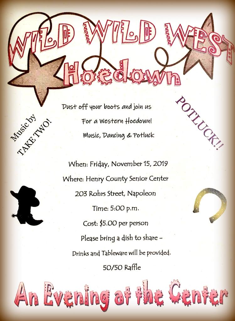 Nov. 15 Wild, Wild, West Hoedown and Potluck!