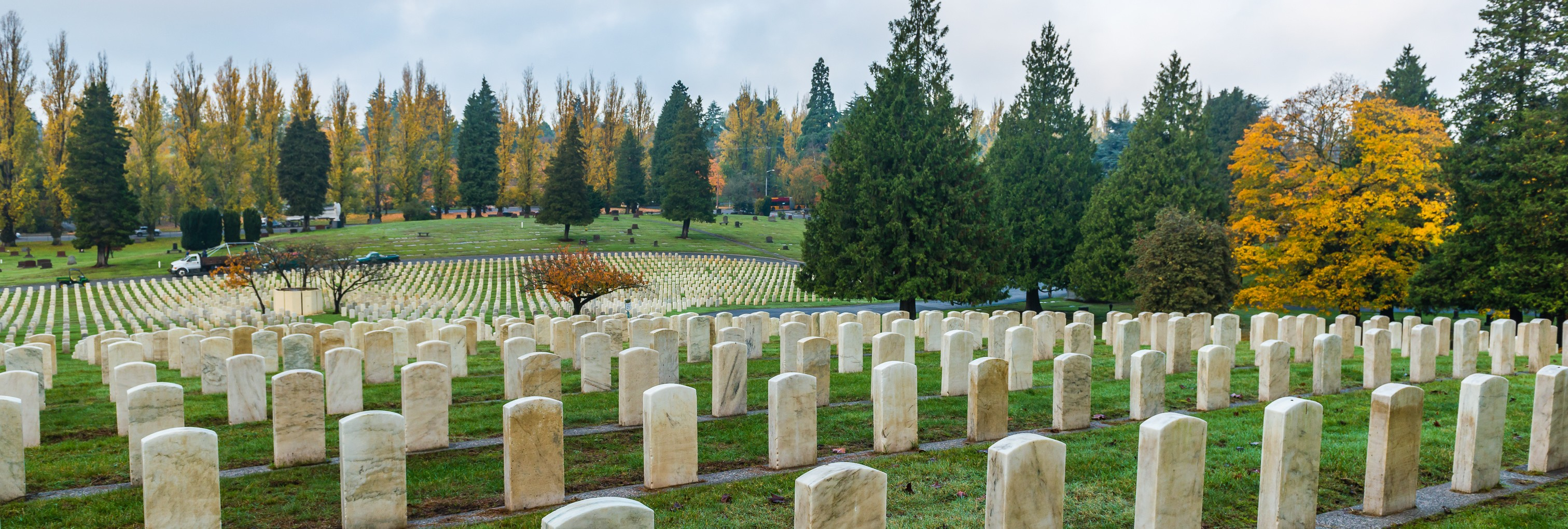 Rows of neatly arranged marble grave markers in a wooded cemetery.