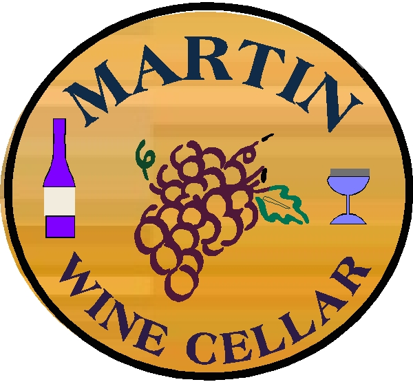 R27360 - Tound Engraved cedar Wood Plaque for Martin Wine Cellae