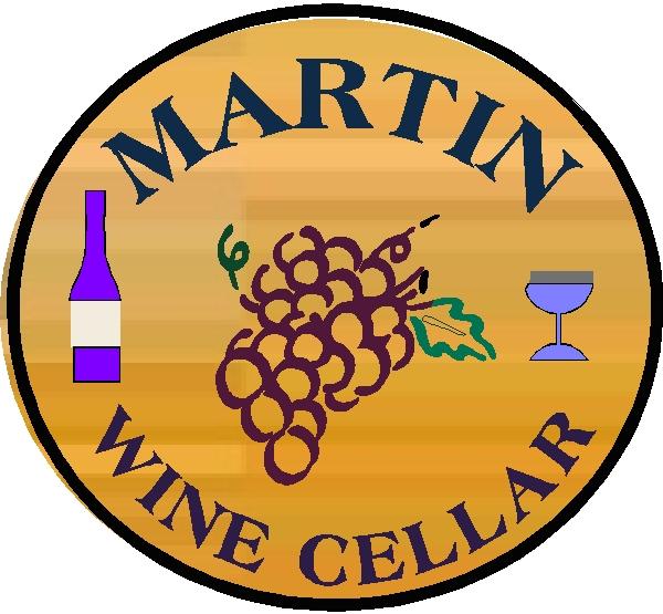R27360 - Round Engraved Cedar Wood Plaque for Martin Wine Cellar