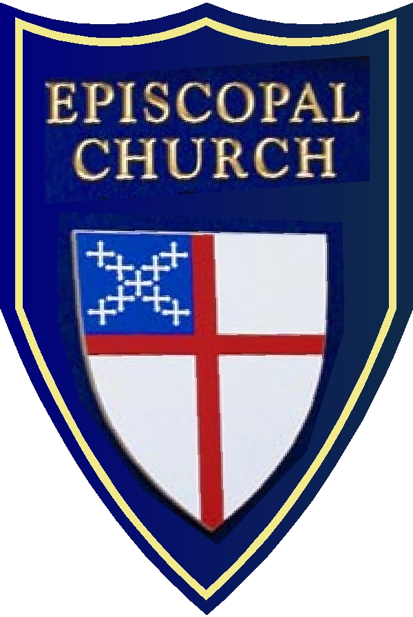 D13091 Design of a Church Sign in the Shape of a Shield with Episcopal Emblem