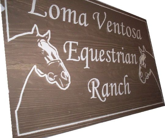 P25210 - Sandblasted Redwood Equestrian Ranch Sign