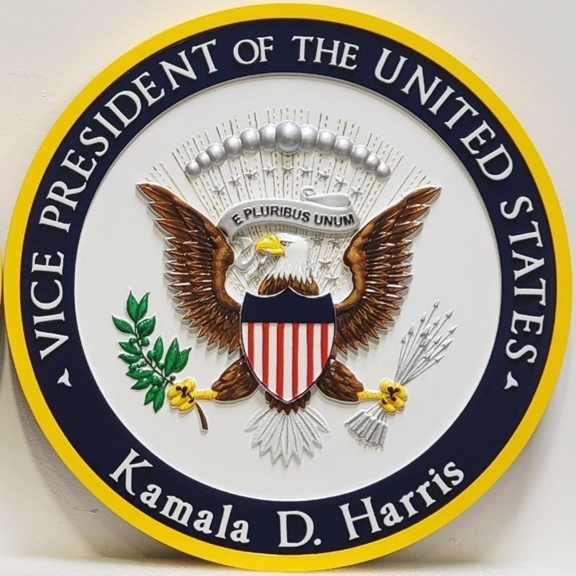 U30096 - Carved 3-D HDU Plaque of the Seal of the President of the United States, Personalized for Kamala Harris