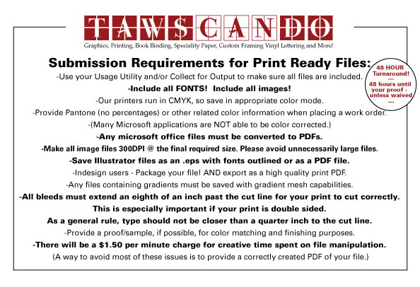 TawsCanDo! Art Submission Specifications: