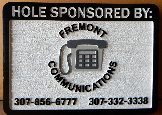 E14576- HDU sandblasted Golf Hole Sponsor Sign with Company Logo