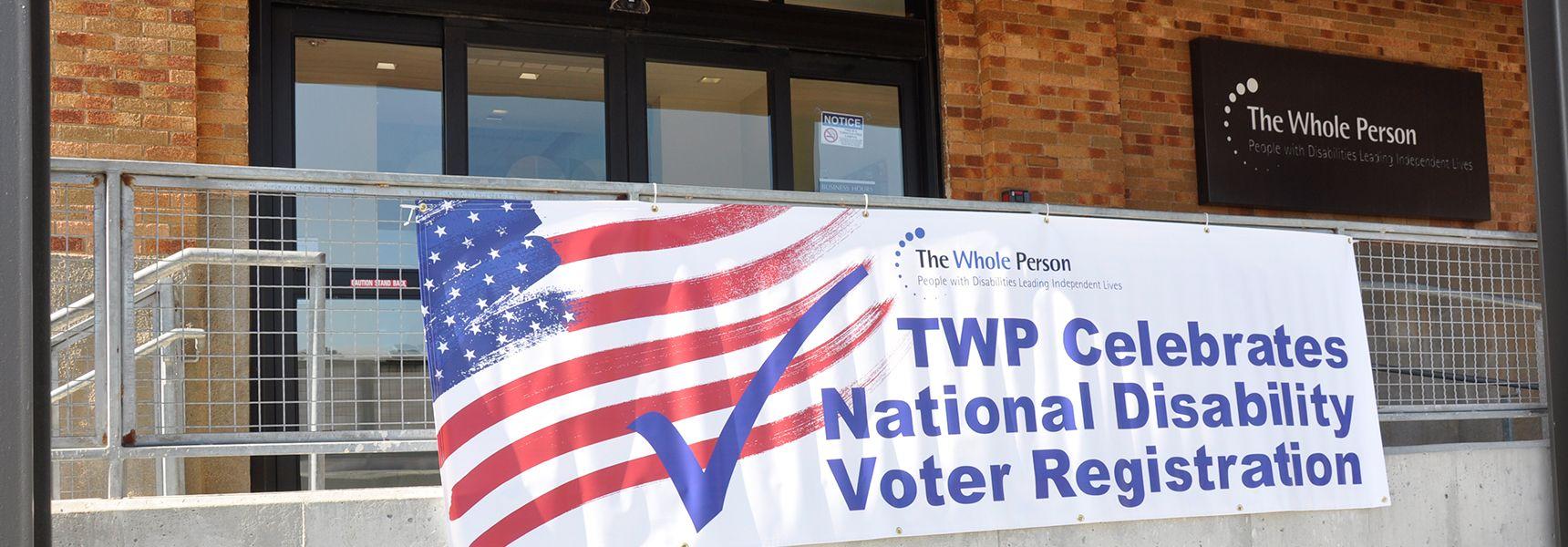 Red, white and blue banner celebrating national disability voter registration