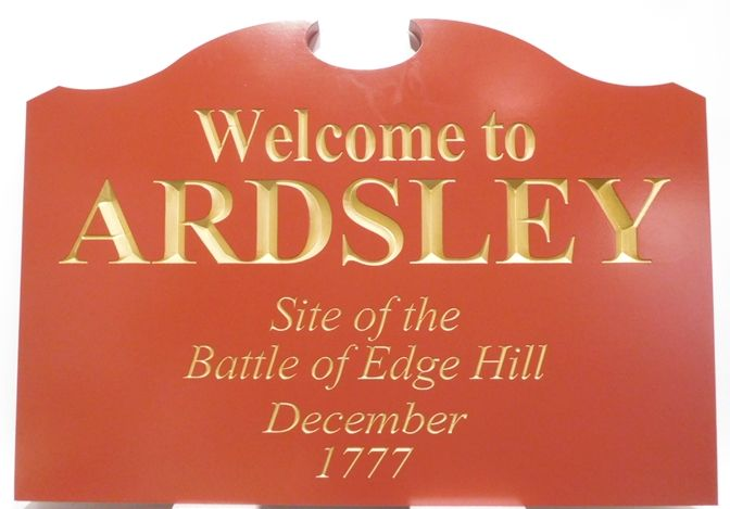 F15390 - Carved Engraved Welcome Entrance Sign for the Village of Ardsley, N.Y., Text Gilded with 24K Gold Leaf