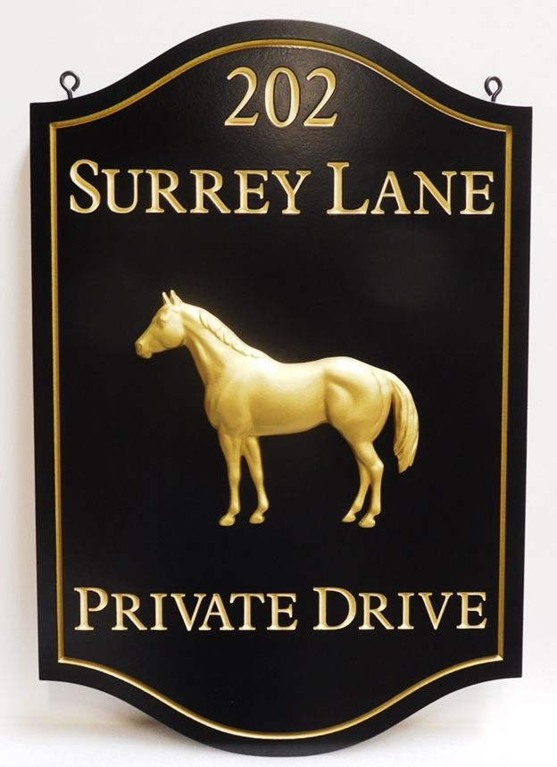 """P25071 - Elegant Elegant Hanging Address and Entrance Sign for """"Surrey Lane"""" featuring  a 3-D Bas-relief Carving of a Standing Horse , Text and  Border Gilded in 24K Gold-leaf"""