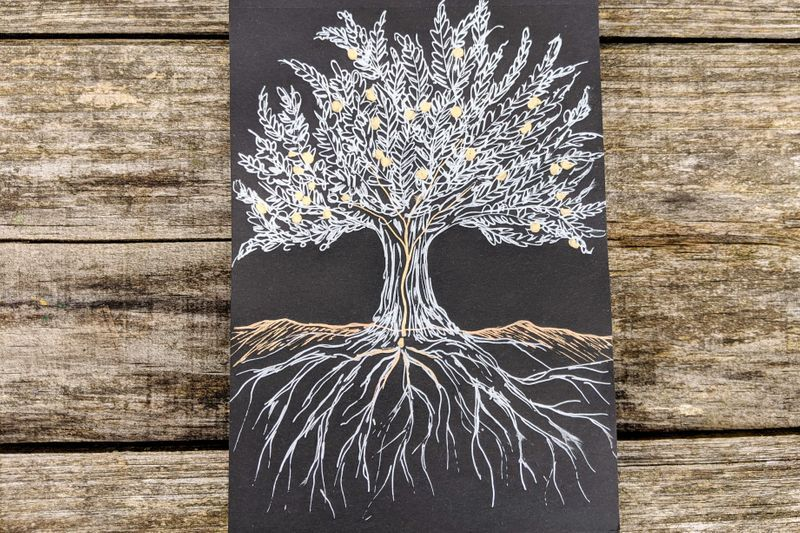 Silver and Gold Tree on black