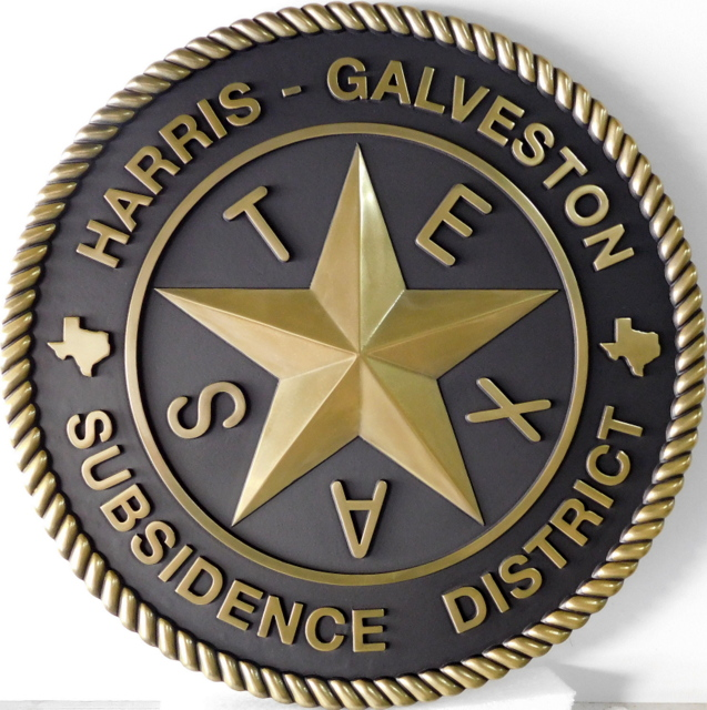 W32489 - Brass-coated  3-D  Carved  High-Density-Urethane (HDU)  Logo for the Harris-Galveston Subsidence District