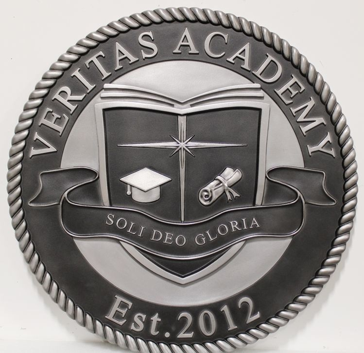 TP-1095 - Carved 3-D Aliminum-Plated HDU Plaque of the Seal of the Veritas Academy