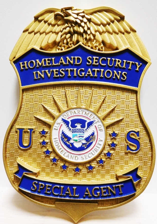 AP-4142- Carved Plaque of the Badge of a Special Agent of Homeland Security,  Artist Painted