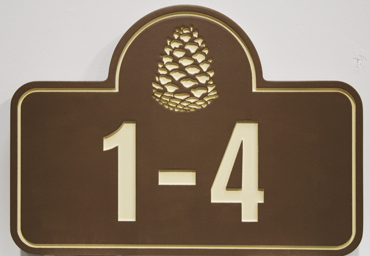 KA20922 - Elegant Carved HDU  Elegant Apartment Building Sign with Unit Numbers and a Pinecone as Artwork