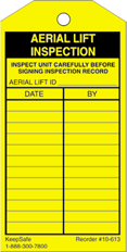 Aerial Lift Inspection Tag