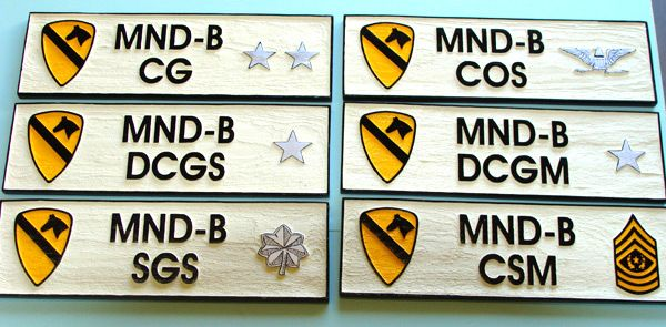 """V31820A- Carved Wood Name Plaques for Officers of the 1st Cavalry Division, """"The First Team"""""""