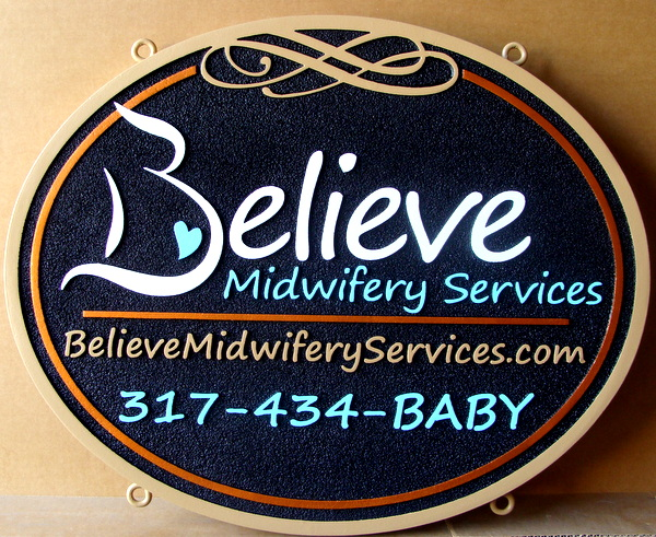 "S28074 - Close-up of Decorative Carved Sign for the ""Believe Midwifery Services"""