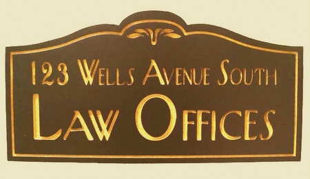 A10213 - Stained Cedar Attorney Sign, Metallic Gold Paint for Text
